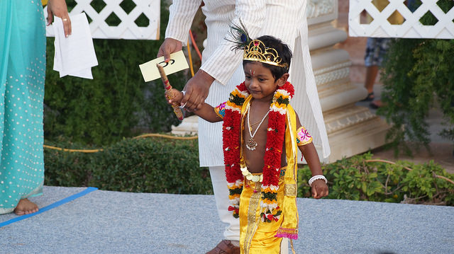 This baby Krishna is bold walking up by himself