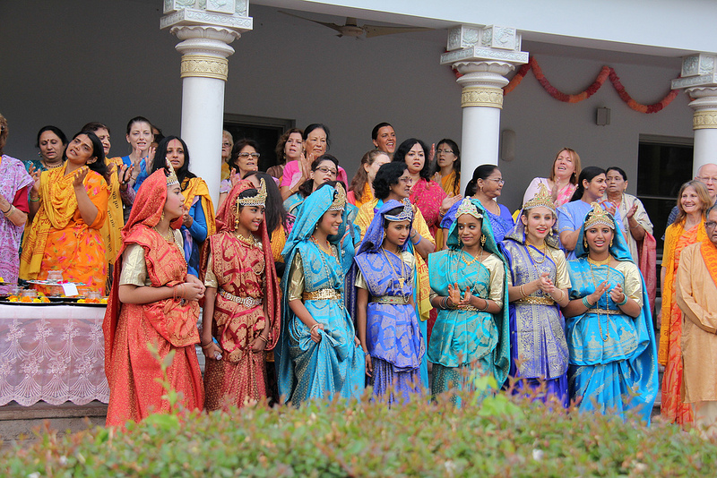 The Gopis Await Shree Radha Rani's Arrival on the temple steps.