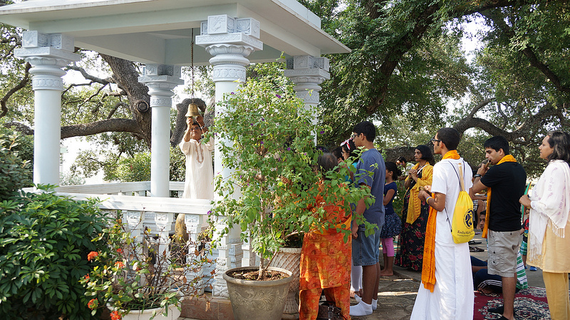 Kids do puja at the Gopeshwari Mahadev (Shiv ji) shrine.