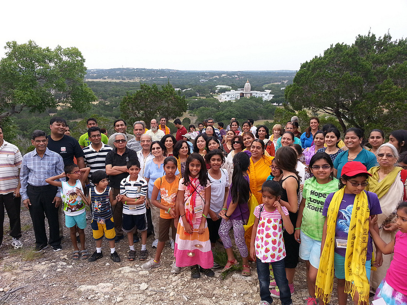 Didi Gopeshwari ji leads devotees on devotional walk to top of Barsana Hill.