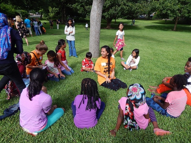 At Refugee Outreach Event, storytelling to engage lil kids