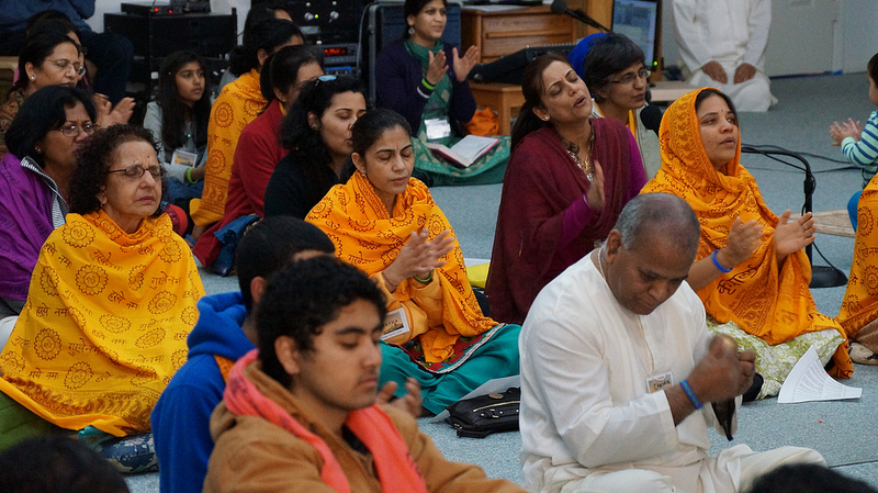 While children are in class the adults enjoy their own satsang.