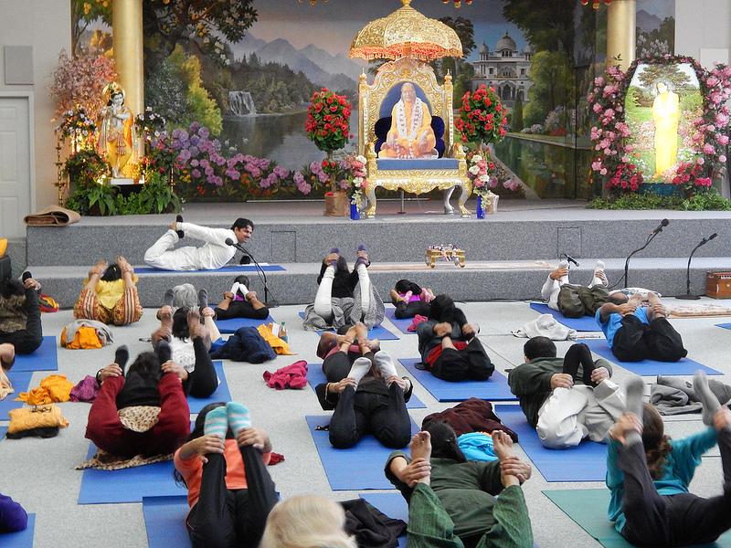 Morning yoga in the main prayer hall