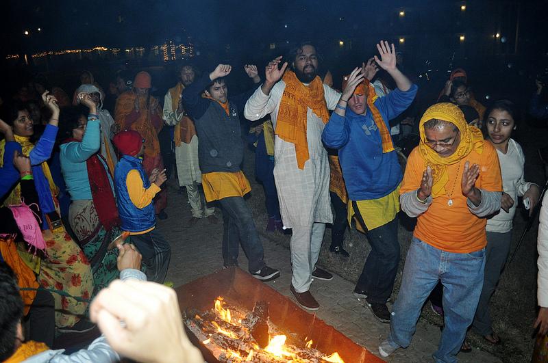 Celebrating the Holi fire of Diwali.