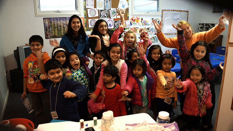 Children's class show their enthusiastic appreciation of the camp.