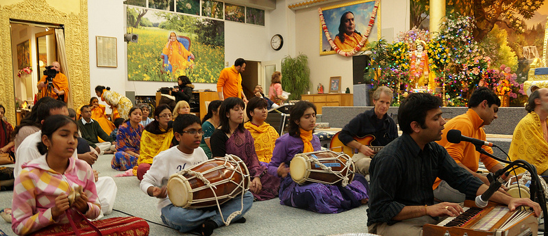 ...students enjoy playing in the satsang.
