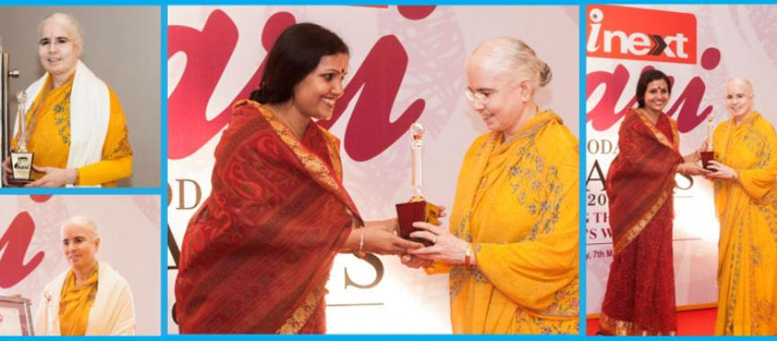 JKP President, Vishakha Tripathi Ji, receives iNext Award for outstanding charitable works